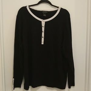 Lane Bryant black and white half button up sweater